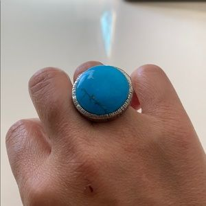 Turquoise Silver Adjustable Ring **